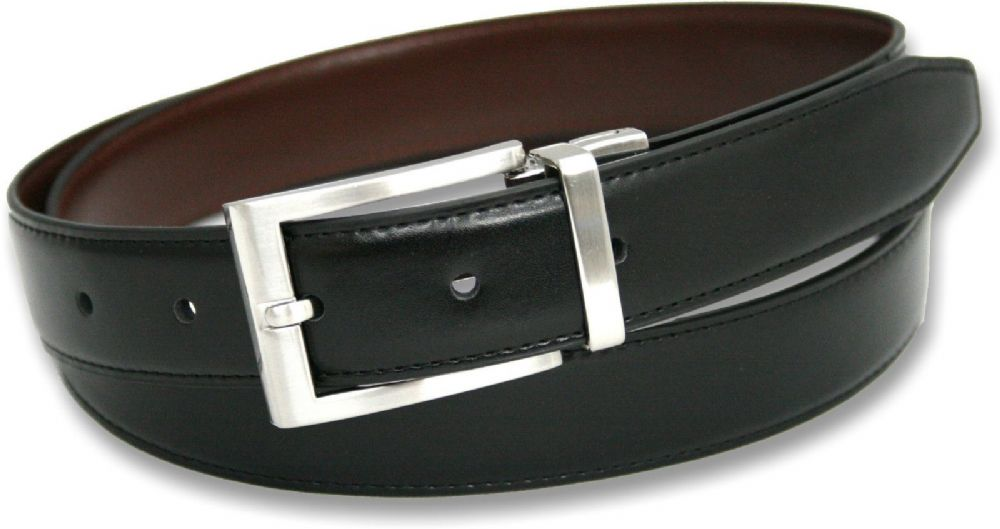 Mens 30mm Twist Reversible Black/Brown Leather Belt